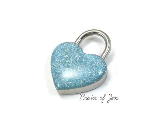 Heart Shaped Padlock Aqua Blue  Sparkly Day Collar Lock and Key