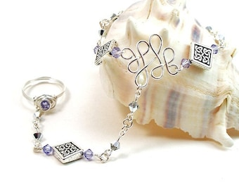 Amethyst Purple Celtic Knot Slave Bracelet with Ring Attached