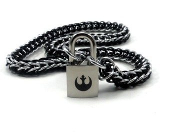 Unisex Slave Collar with Rebel Alliance Symbol Lock in Silver and Black Star Wars Logo