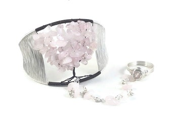 Cherry Blossom Tree of Life Slave Bracelet Cuff with Ring Attached
