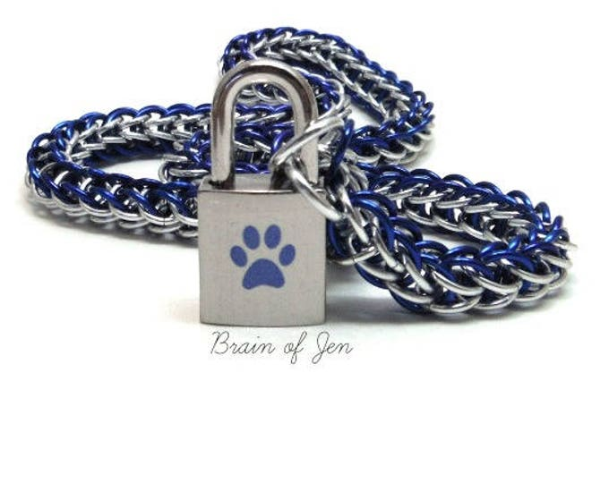 Unisex BDSM Slave Collar Blue Paw Print Locking Chainmail Choker Pup Kitten Sub