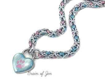 Pink and Pale Blue Trans Pride BDSM Day Collar with Paw Print Heart Lock