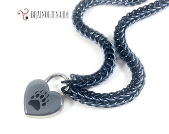 Bear Paw Slave Collar Black and Gunmetal Gray Submissive Day Collar with Heart Lock