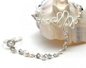 June Birthstone Slave Bracelet Ring Attached White Pearls & Silver Swarovski Crystals