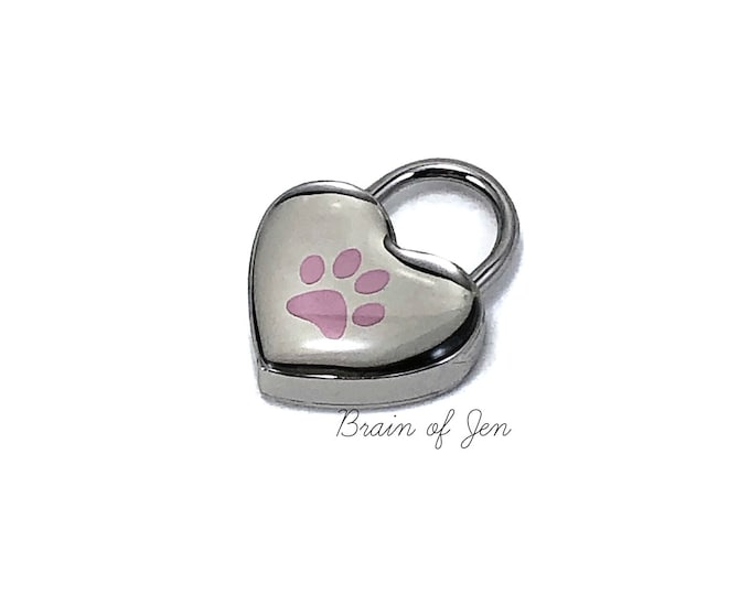 Small Silver and Pink Paw Print Heart Lock