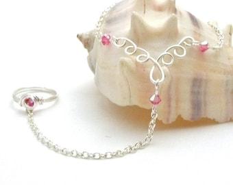 Silver Filigree Slave Bracelet Ring with Pink Swarovski Crystals