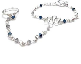 September Sapphire Crystal Birthstone Slave Bracelet Ring Attached