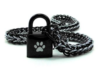 Men's BDSM Slave Collar Paw Print Locking Chainmail Choker Pup Sub Black & Gunmetal