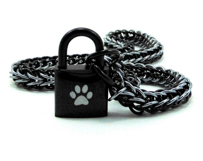 Men's BDSM Slave Collar Paw Print Locking Chainmail Choker Pup Sub Black & Gunmetal