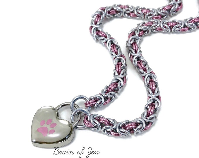 BDSM Slave Collar Silver & Pink Paw Print Submissive Day Collar Puppy Kitten Padlock Choker Necklace