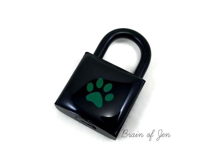 Black and Green Paw Print Lock