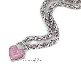 BDSM Slave Collar Silver & Pink Submissive Collar with Small Pink Heart Lock