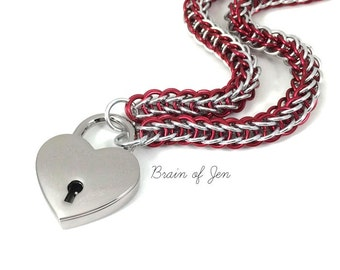 Chainmail BDSM Slave Collar Red and Silver with Heart Shaped Padlock