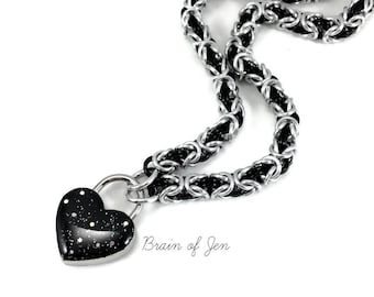 BDSM Slave Collar Silver & Black with Small Black Heart Padlock Necklace