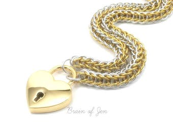 Submissive Collar with Heart Lock Gold and Silver Chainmail Day Collar