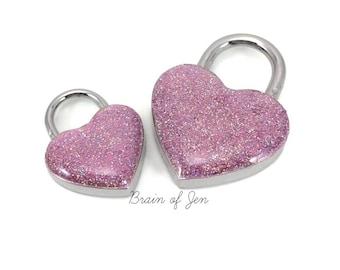 Pink Heart Padlock for Day Collars BDSM Bondage Jewelry