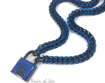 BDSM Slave Collar Bear Paw Print Submissive Collar Black & Cobalt Blue