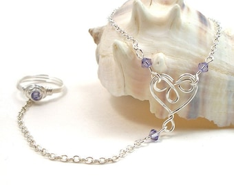 Slave Bracelet with Wire Wrapped Heart and Swarovski Crystals You Choose Color