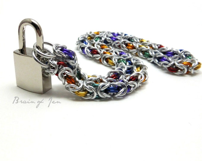 BDSM Collar Silver and Rainbow Slave Collar with Your Choice of Padlock