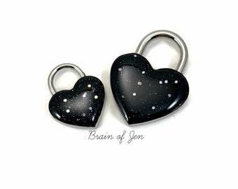 Heart Shaped Padlock Midnight Black Starry Night Day Collar Lock and Key