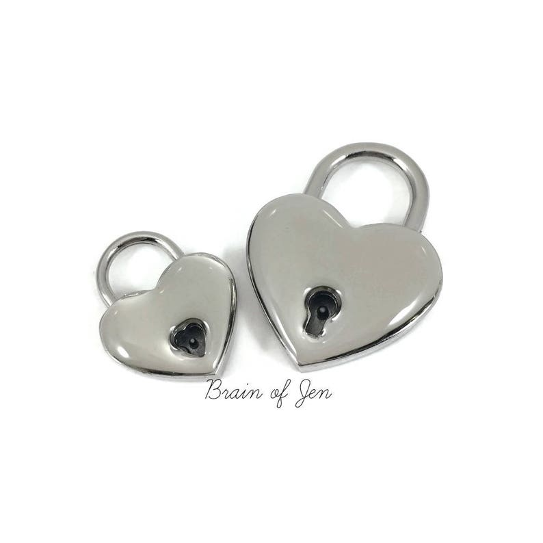Heart Lock with Clear Resin Coating Protect from Nickel image 0