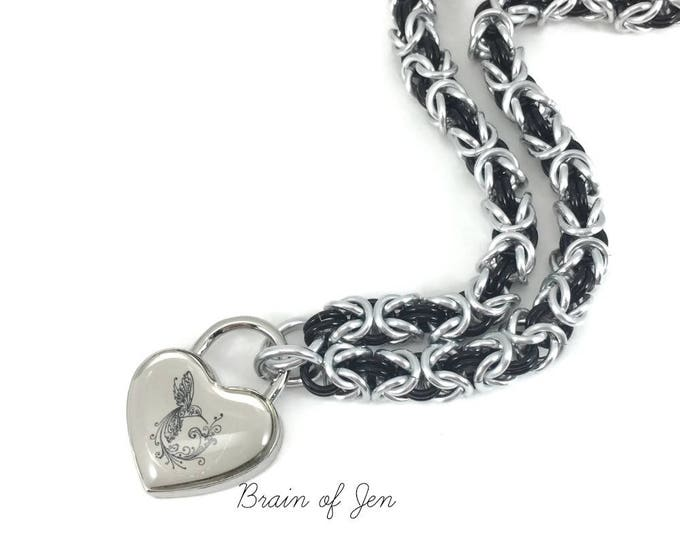 Submissive Collar Silver & Black Slave Collar Hummingbird Heart Lock
