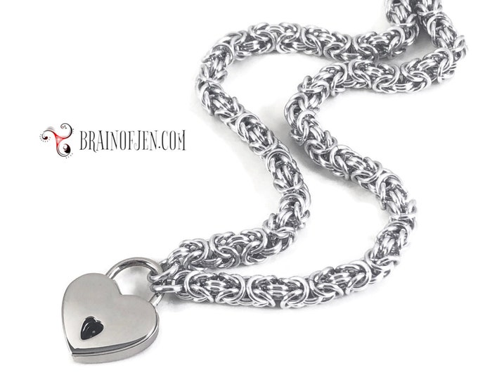 Slave Collar with Small Heart Lock Silver Chainmail Padlock Necklace