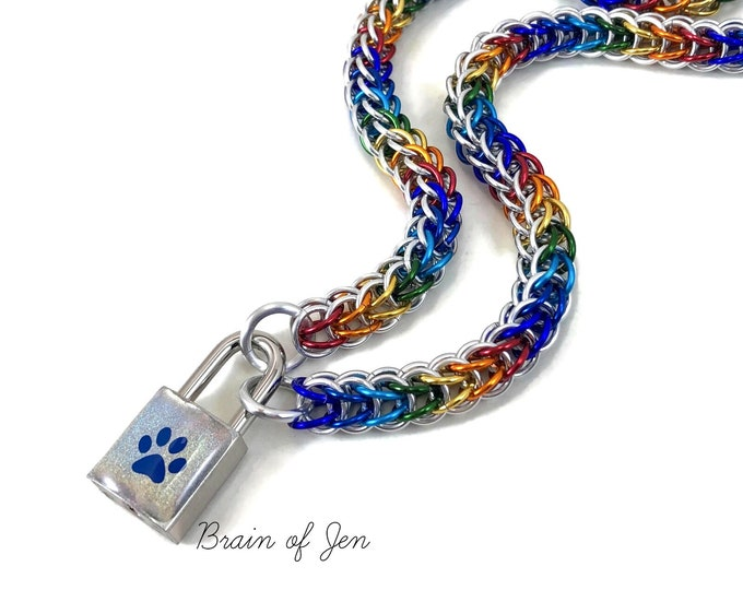 Silver Rainbow Gay Pride Submissive Day Collar with Holographic Paw Print Lock