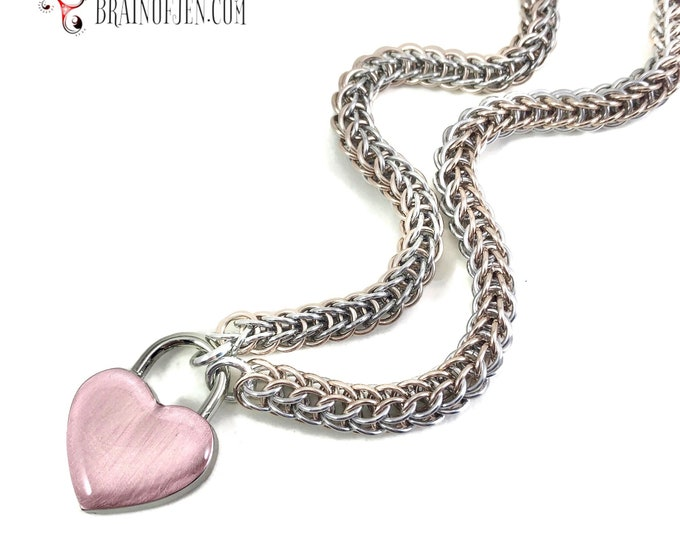 Slave Collar Rose Gold and Silver Chainmaille Submissive Collar with Rose Gold Heart Padlock