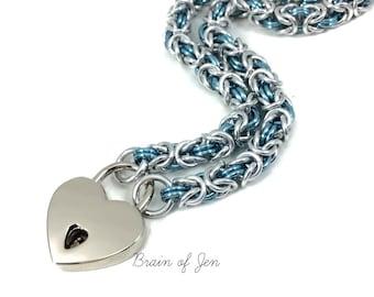 BDSM Slave Collar Pale Aqua Blue and Silver Heart Lock Submissive Collar