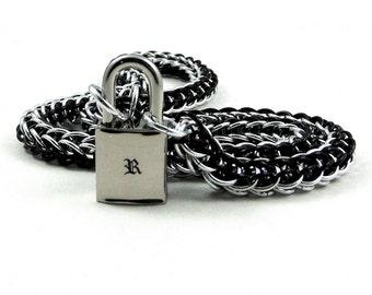 Unisex BDSM Slave Collar Monogram Initial Locking Submissive Chainmail Choker