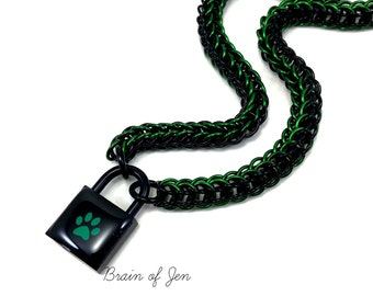 BDSM Submissive Day Collar Black & Green Paw Print Puppy Kitten Padlock Necklace