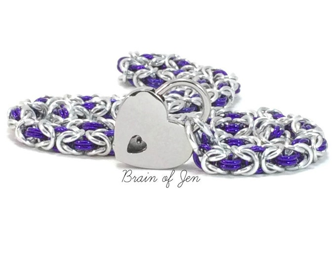 BDSM Slave Collar Silver & Purple Submissive Day Collar with Heart Lock