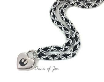 Submissive Day Collar Star Wars Rebel Alliance Symbol Lock in Silver and Black