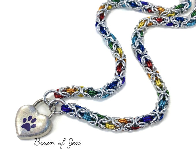 Rainbow Gay Pride Submissive Day Collar with Holographic Paw Print Heart Lock