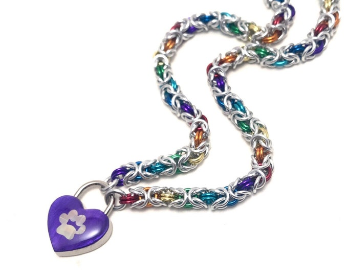 LGBTQ Pride Rainbow Submissive Day Collar with Holographic Paw Print Heart Lock