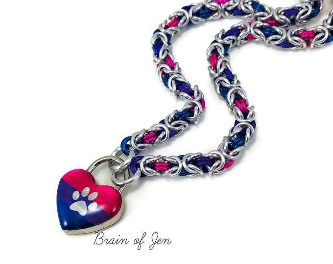 Bi Pride Submissive Day Collar with Bisexual Pride Flag Paw Print Heart Lock
