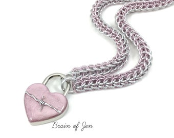 Pink BDSM Slave Collar with Heart and Barbed Wire Lock Submissive Day Collar