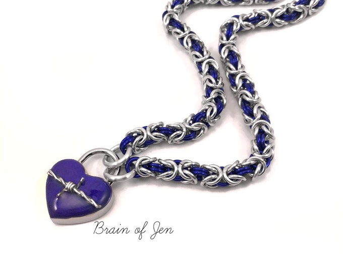 Locking Submissive Collar Purple and Silver Chainmaille Slave Collar with Barbed Wire Heart Lock