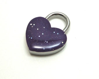 Heart Shaped Padlock Dark Purple Sparkly Day Collar Lock and Key