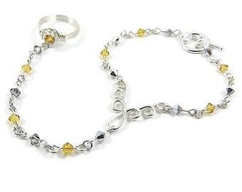 November Birthstone Slave Bracelet Ring Attached Yellow Topaz & Silver Swarovski Crystals