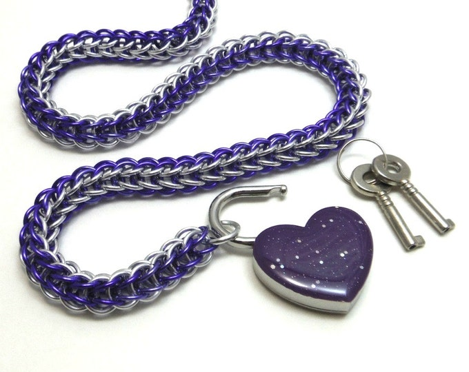 Chainmail Slave Collar Purple and Silver with Sparkly Violet Heart Padlock Necklace