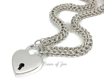 STERLING SILVER BDSM Slave Collar Chain and Heart Padlock Submissive Day Collar