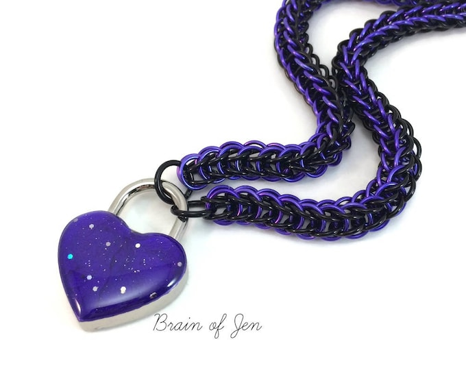 Submissive Day Collar Violet & Black with Sparkly Purple Heart Shaped Padlock