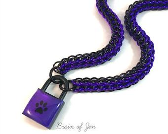 BDSM Submissive Day Collar Purple & Black Paw Print Padlock Necklace Pup Kitten Slave Collar