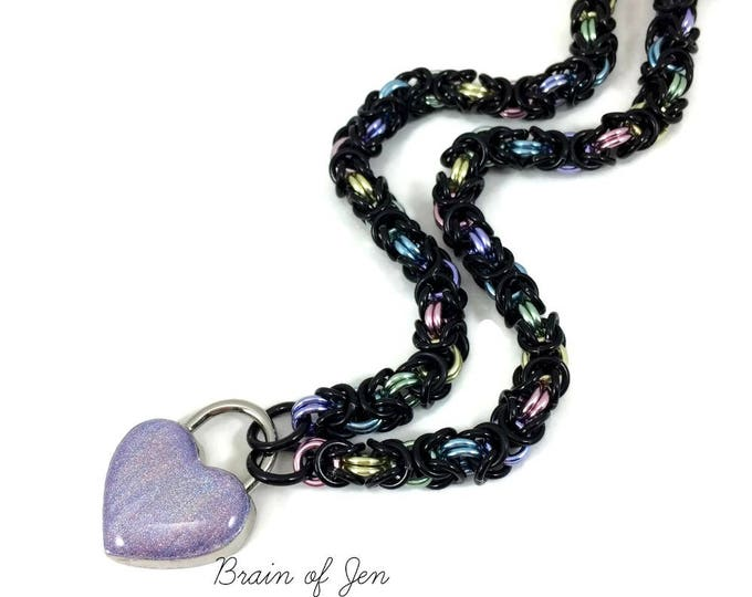 Black Pastel Rainbow BDSM Slave Collar with Holographic Heart Lock