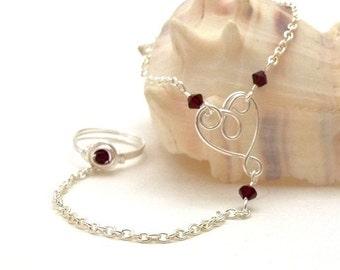 Slave Bracelet Ring with Handmade Filigree Heart & Swarovski Crystals CHOOSE YOUR COLOR