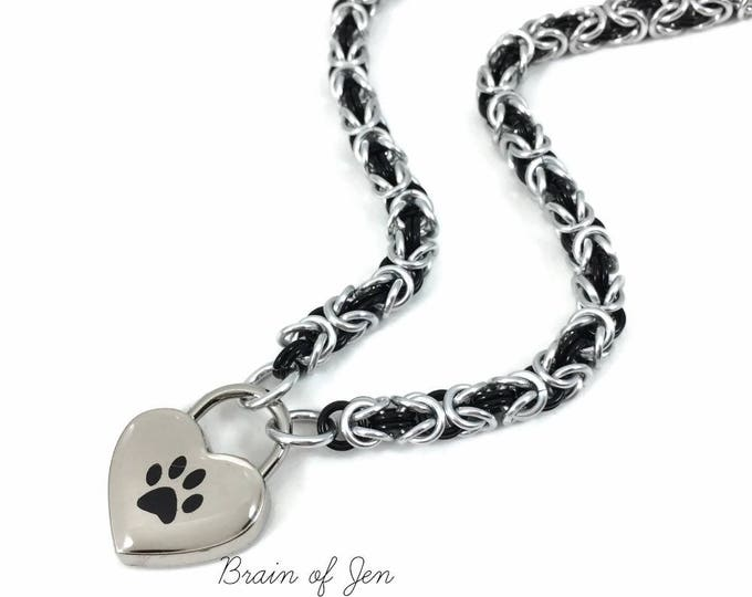 BDSM Slave Collar Black Paw Print Choker Pup Kitten Submissive Day Collar Padlock Necklace