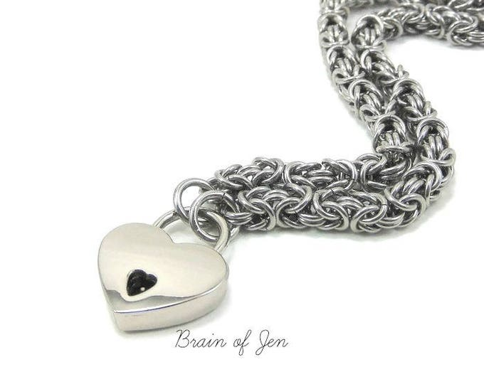 Locking Submissive Day Collar Stainless Steel Slave Collar with Heart Lock