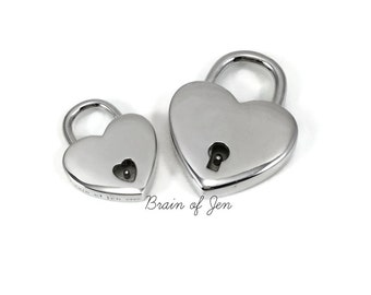 Solid 925 Sterling Silver Heart Shaped Working Padlock